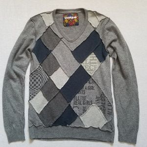 Desigual patchwork v-neck sweater gray S